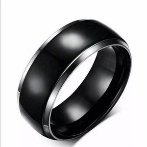 New 8mm Stainless Steel Black Band Ring